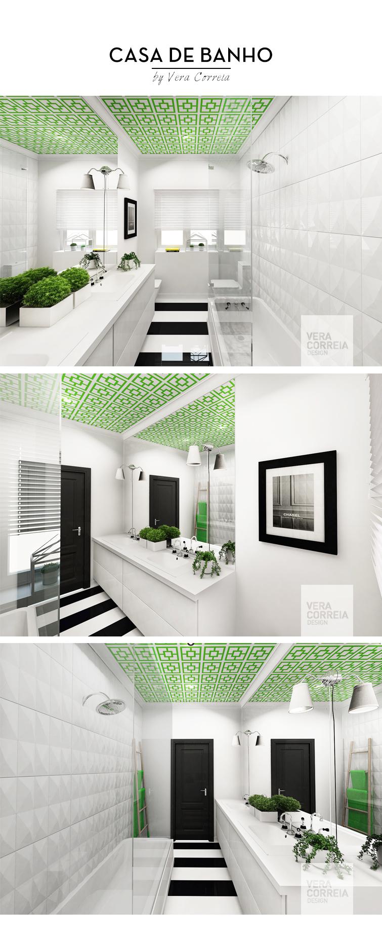 decoracao interiores wc:facto de ter usado o branco nas paredes e mobiliário e cor e